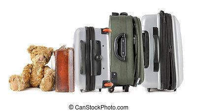 σειρά , από , βαλίτσα , με , αρκουδάκι , κάθονται , σε , άρθρο άκρη