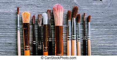 σειρά , πινέλα ζωγραφικής και βαψίματος , καλλιτέχνηs