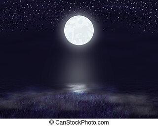 σεληνόφωτο , ουρανόs , νύκτα