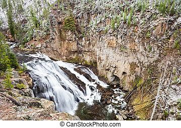 σεπτέμβριοs , χιόνι , επάνω , ο , yellowstone ποταμός