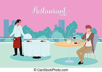 σερβίρισμα , γεύμα , εστιατόριο , τραπέζι , γκαρσόνι , άντραs