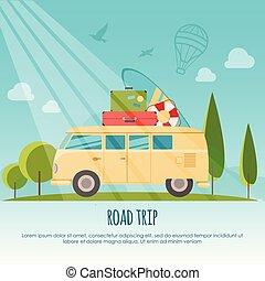 σερφ , διαμέρισμα , ταξίδι , γενική ιδέα , banner., κατασκηνώνω , ρυθμός , εικόνα , μικροβιοφορέας , δρόμοs