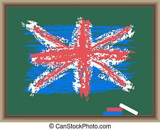 σημαία , από , αγγλία , επάνω , ένα , μαυροπίνακας