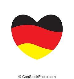 σημαία , από , γερμανία , μέσα , ένα , καρδιά , αναπτύσσομαι.