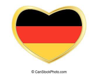σημαία , από , γερμανία , μέσα , αγάπη αναπτύσσομαι , χρυσαφένιος , κορνίζα