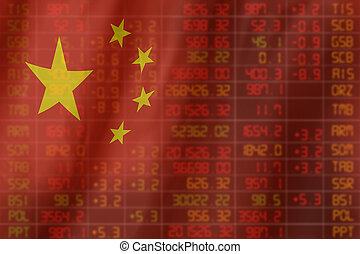 σημαία , από , china., downtrend , στοκ , δεδομένα , διάγραμμα