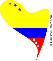 σημαία , εκουαδόρ , μέσα , καρδιά
