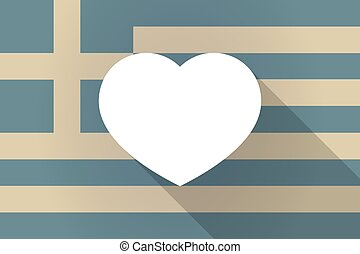 σημαία , ελλάδα , καρδιά , μακριά , σκιά