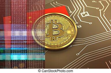 σημαία , κίνα , bitcoin, 3d