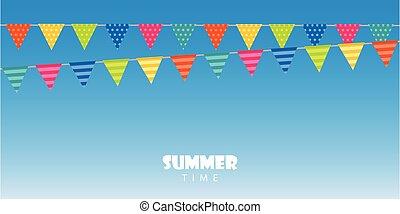 σημαία , μπλε , ώρα , καλοκαίρι , φόντο , πάρτυ