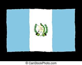 σημαία , handrawn, γουατεμάλα