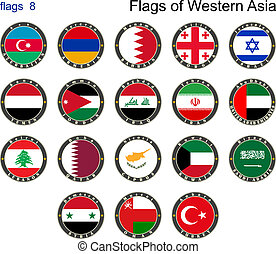σημαίες , από , δυτικός , asia., σημαίες , 8.