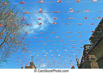 σημαίες , κόκκινο , αέρας