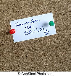 σημείωση , χαμόγελο , χαρτί , θυμάμαι