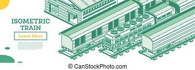 σιδηρόδρομος , απομονωμένος , φορτίο , elements., locomotive., white., περίγραμμα , isometric , τρένο