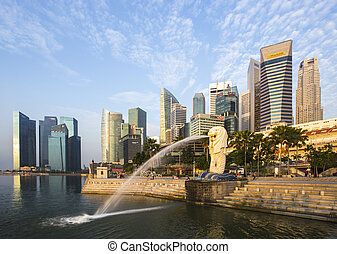 σινγκαπούρη , διακριτικό σημείο , merlion , με , ανατολή