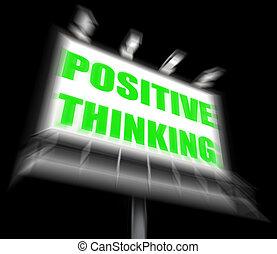 σκέψη , σκεπτόμενος , θετικός , σήμα , αισιόδοξος , δείχνω