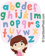 σκεπτόμενος , αλφάβητο , μικρός , θέτω , κορίτσι