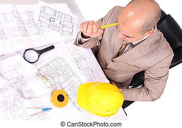 σκεπτόμενος , επιχειρηματίας , διάγραμμα , αρχιτεκτονικός