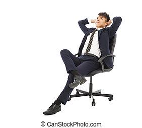 σκεπτόμενος , επιχειρηματίας , καρέκλα , νέος , κάθονται