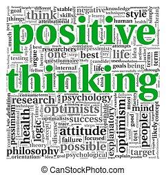 σκεπτόμενος , θετικός , γενική ιδέα , ετικέτα , σύνεφο