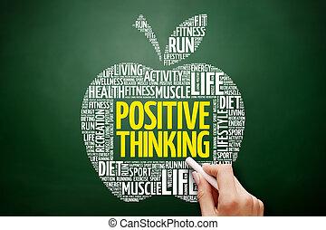σκεπτόμενος , θετικός , λέξη , μήλο , σύνεφο