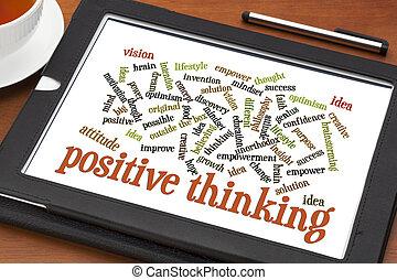 σκεπτόμενος , θετικός , λέξη , σύνεφο , δισκίο