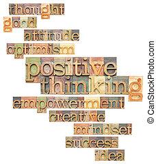 σκεπτόμενος , θετικός , λέξη , σύνεφο