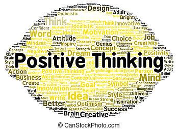 σκεπτόμενος , θετικός , σχήμα , λέξη , σύνεφο