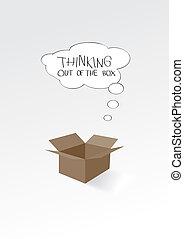 σκεπτόμενος , κουτί , έξω