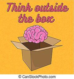 σκεπτόμενος , κουτί , έξω , εγκέφαλοs