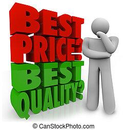 σκεπτόμενος , τιμή , προτεραιότητα , πρόσωπο , vs , αποφασίζω , αγοραστής , ποιότητα , καλύτερος