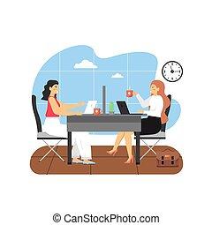 σκηνή , διαμέρισμα , γραφείο , δυο , μοντέρνος , εικόνα , χώρος εργασίας , μαζί , πόσιμο , γυναίκεs , μικροβιοφορέας , καφέs , εργαζόμενος