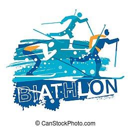 σκιέρ , grunge , εξοχή , αγώνας , σταυρός , biathlon , stylized.