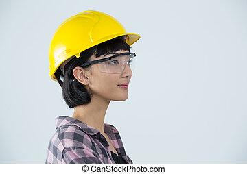 σκληρά , φόντο , εναντίον , κουραστικός , γυναίκα , γυαλιά , ασφάλεια , αγαθός καπέλο , αρχιτέκτονας