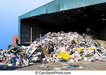 σκουπίδια , ενισχύω ανακριτού , σε , ένα , ακαλλιέργητος...