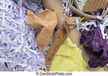 σκουπίδια , χαρτόνι , λεπτομέρεια , χαρτί , ψιλοκομμένος