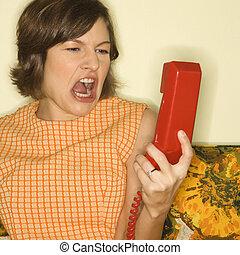 σκούξιμο , γυναίκα , τηλέφωνο.