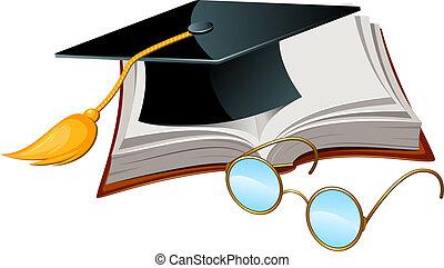 σκούφοs , βιβλίο , αποφοίτηση , γυαλιά