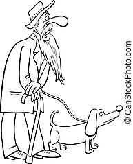 σκύλοs , γελοιογραφία , περίπατος , αρχαιότερος , μπογιά αγία γραφή , σελίδα