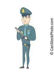 σοβαρός , καυκάσιος , νέος , baton., αστυνομικόs