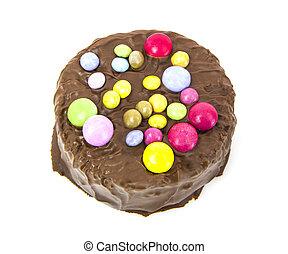 σοκολάτα, γενέθλια, φόντο, κέηκ, άσπρο, στρογγυλός
