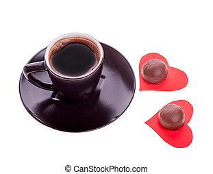 σοκολάτα γλασσάρω , σε , άρθρο αγάπη , από , χαρτί , και , καφέs , μαύρο