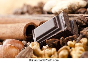 σοκολάτα , με , κόκκοι καφέ , αλάτι , και , καρύδια