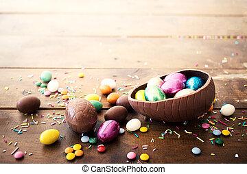 σοκολάτα easter αβγό , και , γλυκός , γλυκίσματα , επάνω , ξύλινος , φόντο. , ευτυχισμένος , easter!