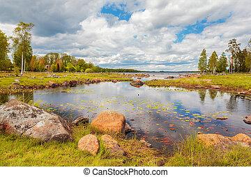 σουηδικά , καλοκαίρι , λίμνη , βράχος
