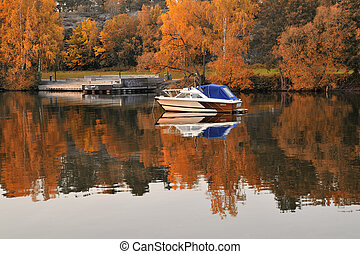 σουηδικά , λίμνη , βάρκα