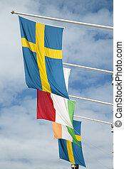 σουηδικά , μπλε , σημαία , ουρανόs , φόντο