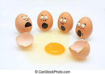 σπάζω , αυγό