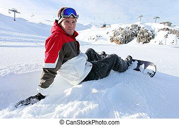 σπάζω , ελκυστικός , μικρός , snowboarder , αόρ. του sit